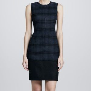 Akris Plaid Wool Zipper Front Dress, Size 10
